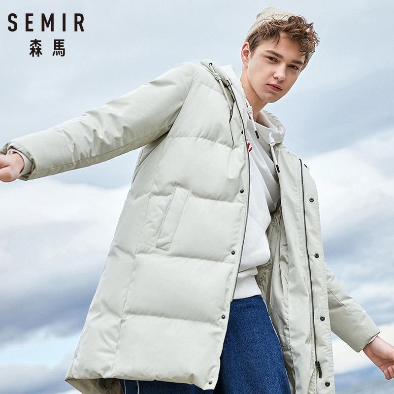 SEMIR 2019 New Winter Men Down Jacket 2XL Extra Long Duck Down Coat Thicken Warm Windproof Male Outwear