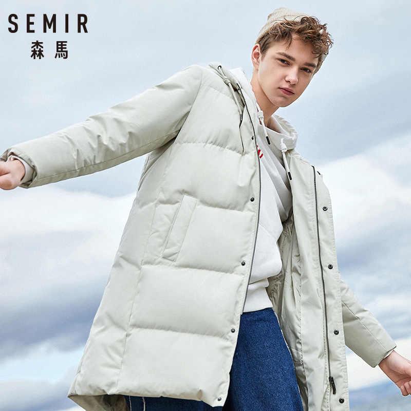 Semir 2019 novo inverno men down jacket 2xl extra longo pato para baixo casaco engrossar quente à prova de vento masculino outwear