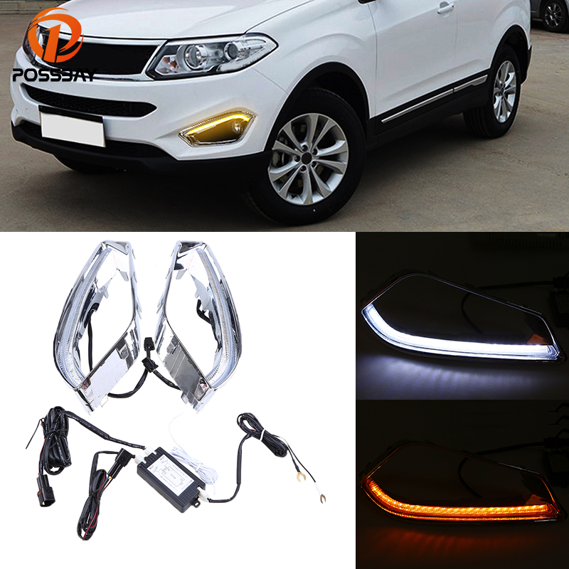 POSSBAY Car LED DRL Daytime Running Lights Fog Light for Chery Tiggo 5(T21) 2013 2014 2015 With White Yellow Turn Signal Light led drl day lights for mitsubishi asx 2013 2014 2015 daytime running light driving fog run lamp with yellow turn signal