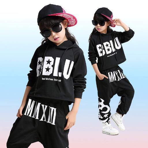 Niños Jazz danza ropa niños niñas calle danza Hip Hop danza trajes niños  ropa conjuntos deportes traje otoño en Sistemas de la ropa de Mamá y bebé  en ... 6c14230e53f