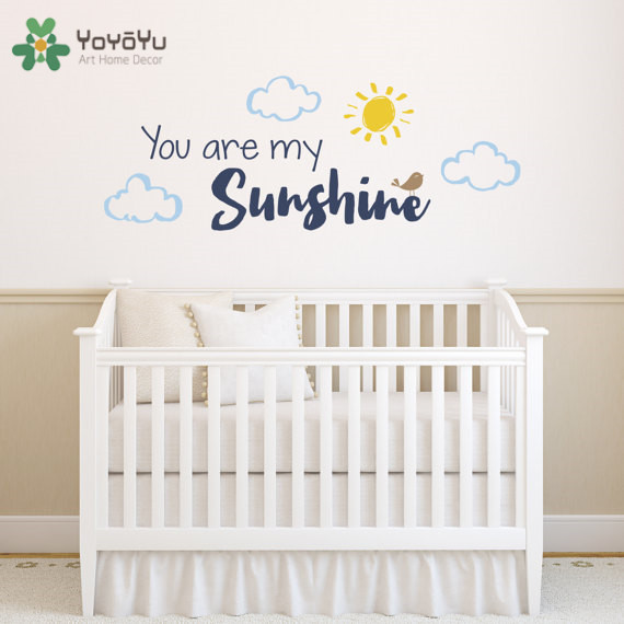YOYOYU Vinyl Wall Decal YOU ARE MY SUNSHINE Sun and a sheet of cloud KIDS Room Home Decoration Stickers ZX026