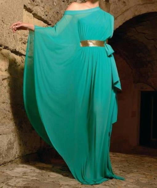 Dubai Kaftan Arabic Chiffon Evening Dress Long Sleeves Formal Robe Peacock Blue Maxi Prom Gowns With Gold Belt vestidos de noche(China (Mainland))
