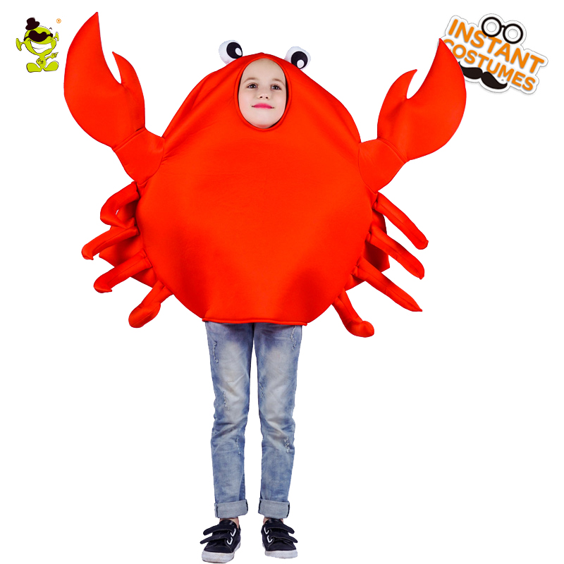 New Kids Crab Mascot Emoji Costumes Purim Holiday Carnival Party Funny Emotion Jumpsuit for Children Performance