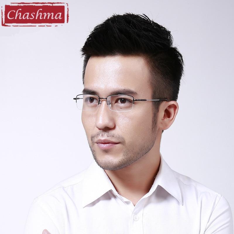 Men's Eyewear Frames Chashma Quality Eye Glasses Gray Black Silver Gold Blue Half Frame Memory Alloy Oculos De Grau Eyeglasses Frames Men The Latest Fashion