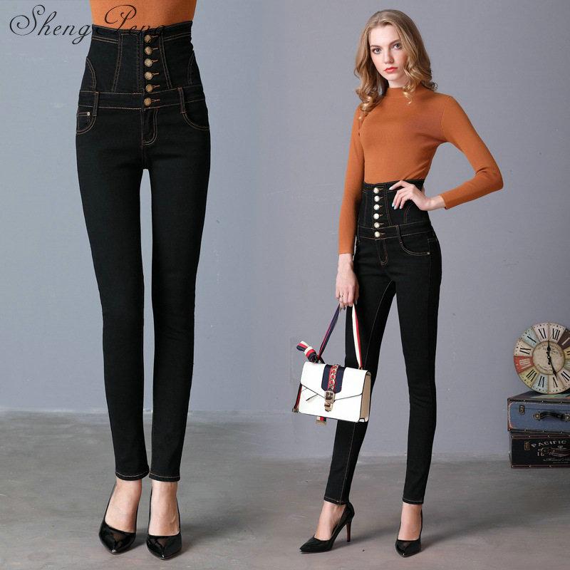 Para Boyfriend Flaco Delgado Pantalones 2018 Mujeres Fly Cintura Alta Las Cc439 Vintage De Botón 1 2 Plaid Lápiz Ripped Jeans SpdwxqdE