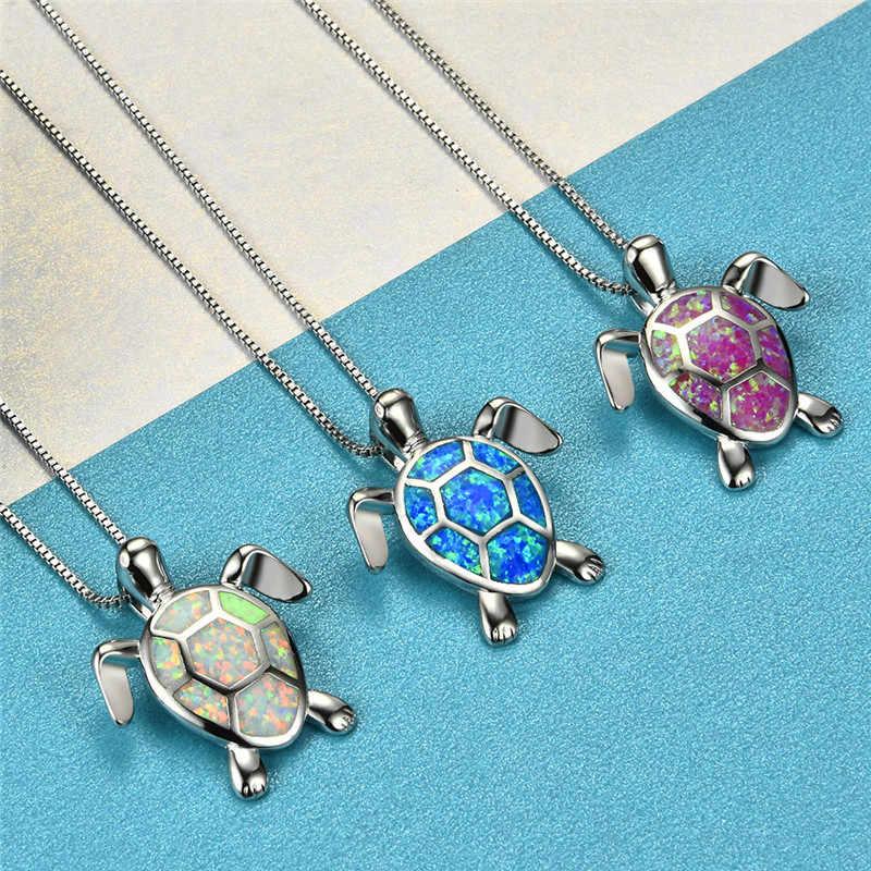 Ожерелье с кулоном в виде милой черепахи для девушек, женское 925 пробы Серебряное ожерелье с голубым зеленым белым огненным опалом, свадебные ювелирные изделия