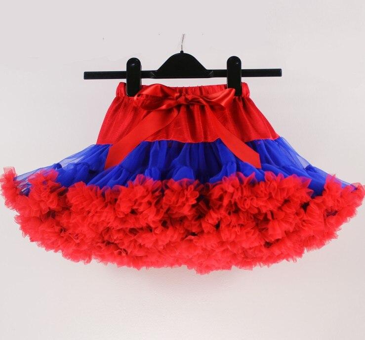 Юбка-пачка для девочек; детская юбка-пачка; Радужная юбка-пачка; одежда для мамы и дочки; ярко-синяя и красная юбка-пачка - Цвет: Красный