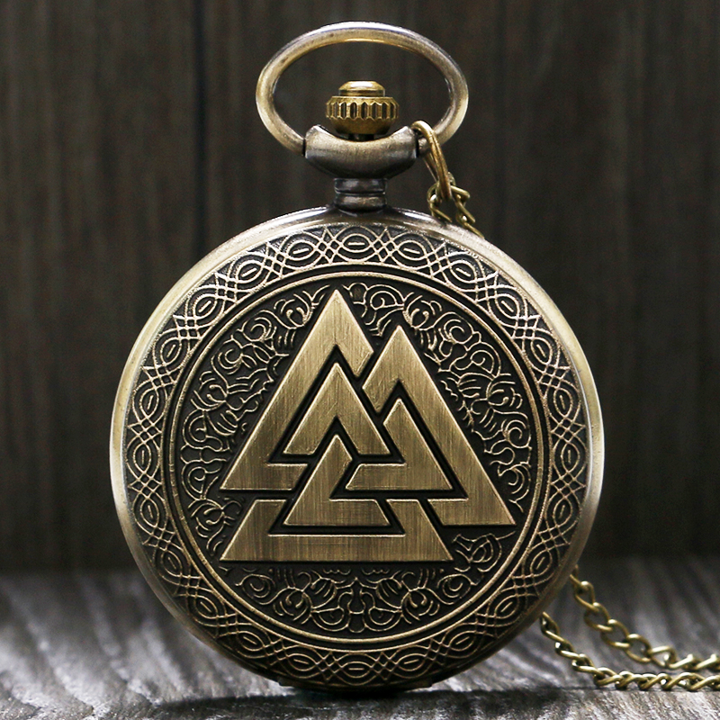 Vintage Triangle Valknut Norse Vikings Mythology Bronze Quartz Pocket Watch Necklace Chain Three Interlocking Fob Watch Gifts