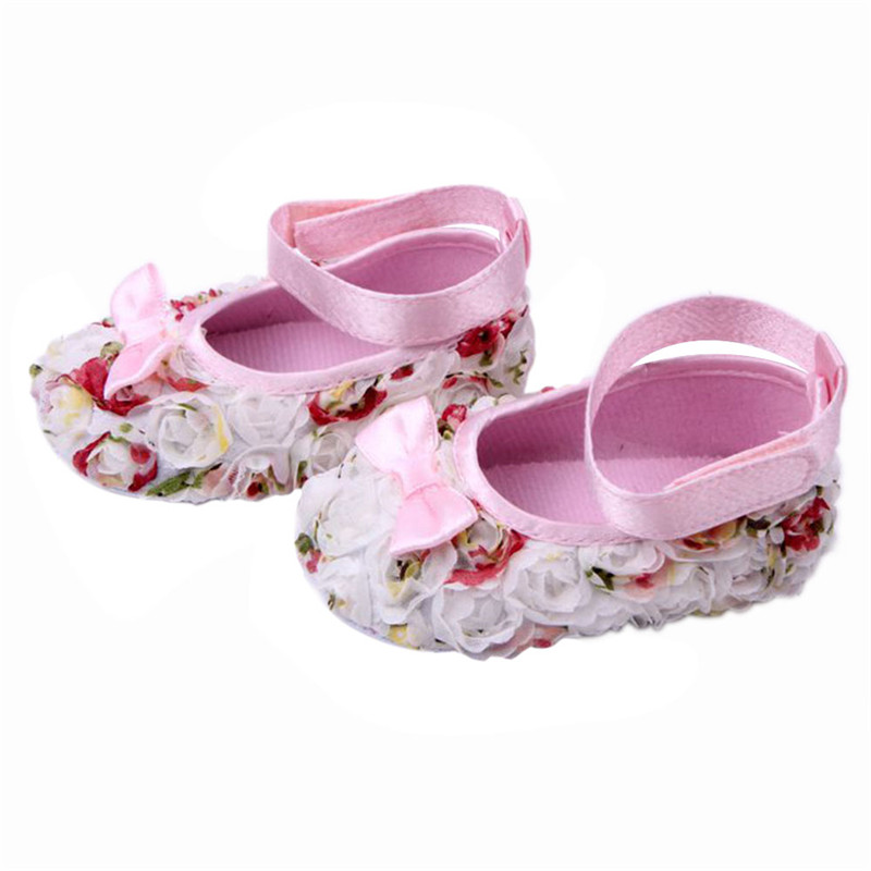 Bady Girl Todder Shoes Flower Bowknot Newborn Soft Sole First Walkers