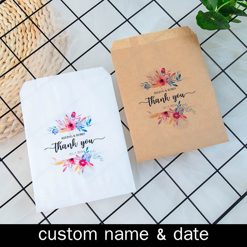 Personalised Name & Date Thank You Wedding Popcorn Candy Buffet Cookie Desserts Treat Bags Customized Bridal Shower Party Favors