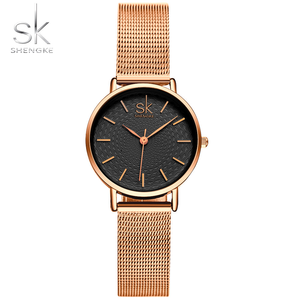 Shengke Fashion Luxury Women Armbandsur High Quality Gold Mesh Belt - Damklockor