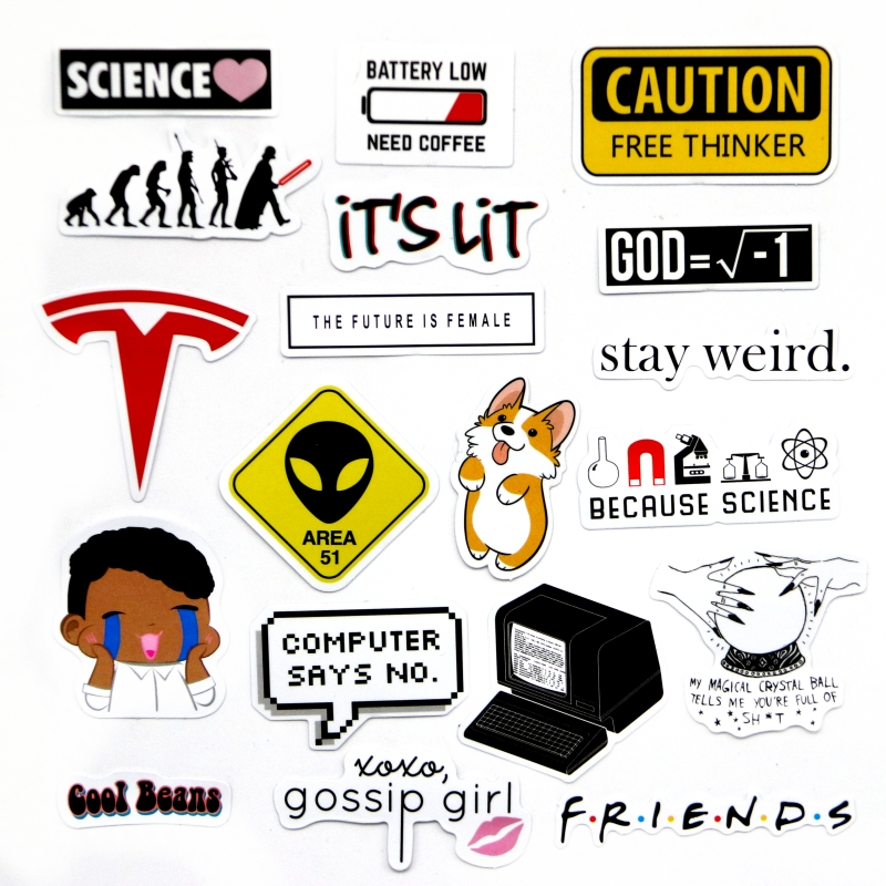 19 Pcs Gossip Girl Logo Sign Stickers Lit Beans Mini Diary Sticker Decorative Style  For Phone Stickers