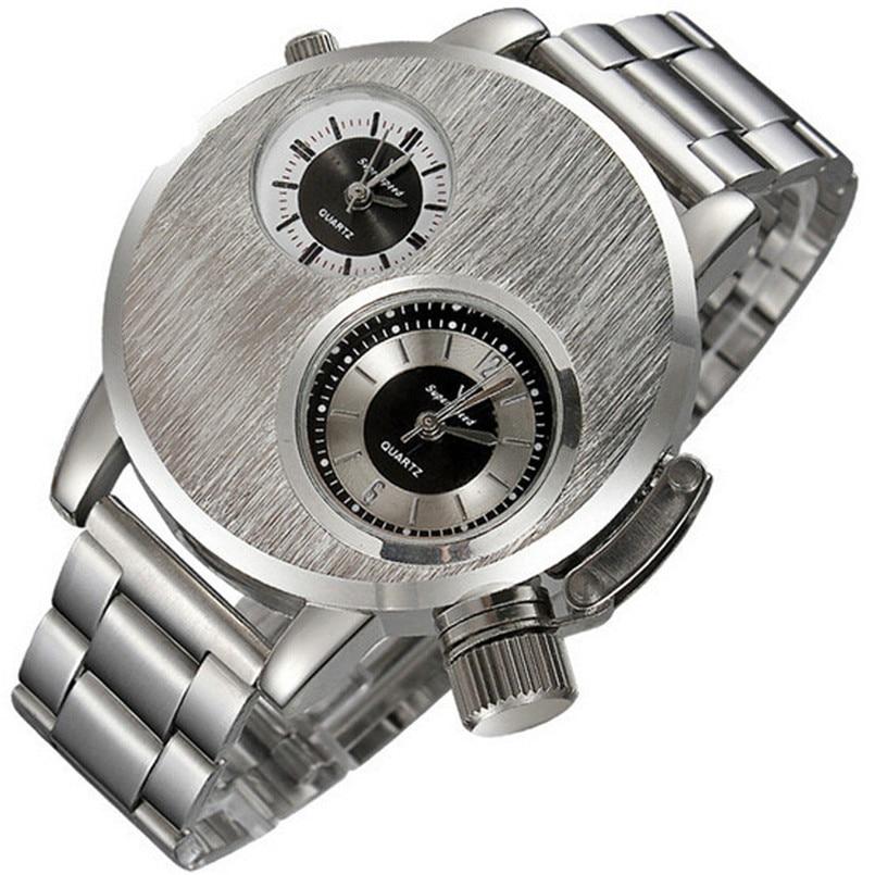 Hot Sale Cool Sport Watch Men Dual Time Zone Dial Silver Full Steel Clock Business Male Relogio Digital Quartz-watch