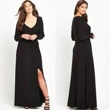 Sexy Schwarzen Kleid Für Abend V-ausschnitt A-Line Chiffon Abendkleider Lange Ärmel Bein Split Bodenlangen Günstige Brautkleider 2017