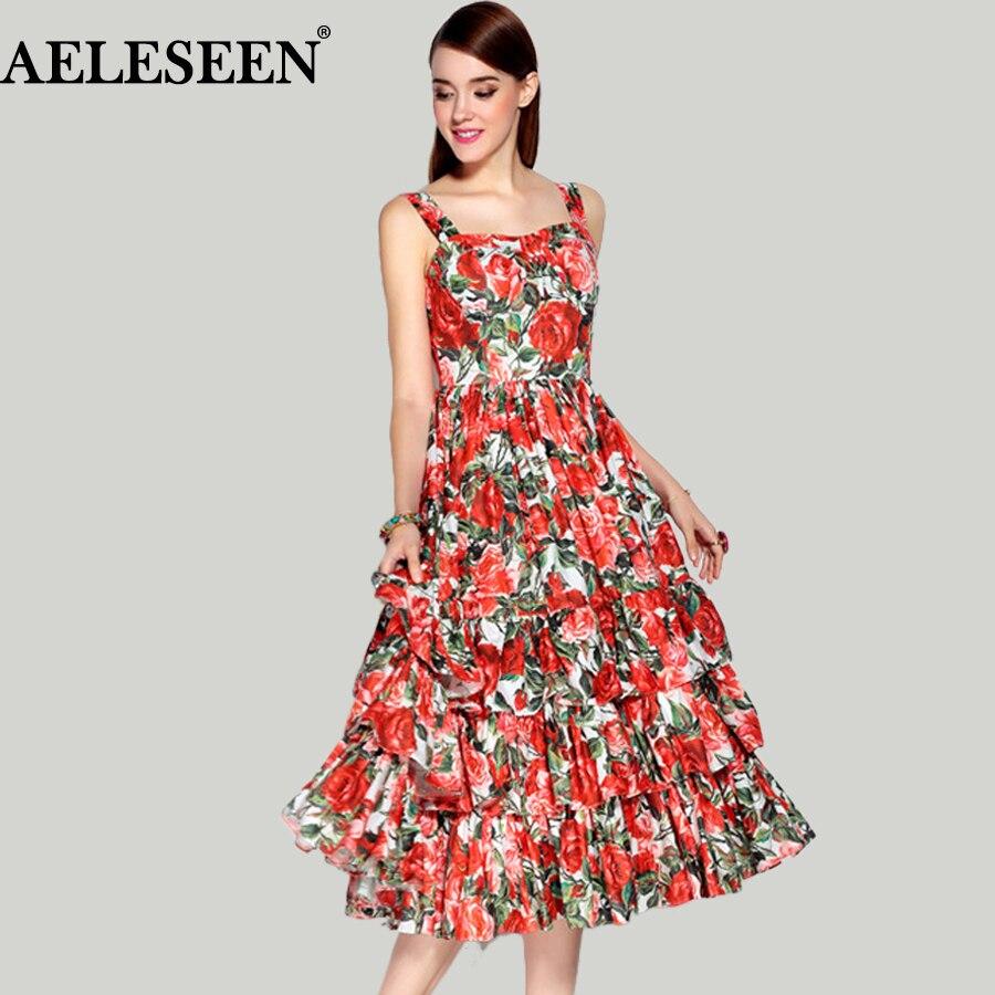 Vestidos Primavera Verão 2019 De Moda Vermelho De Impressão Elegante Do Vintage Das Senhoras Tira Bola Grown Remantic Senhoras Vestido De Luxo