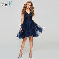 Dressv темно синее платье для выпускного вечера с v образным вырезом недорогое бальное платье с открытой спиной без рукавов Тюль Бисероплетени