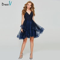 Dressv Navy Blue Homecoming Dress V Neck Ball Gown Cheap Backless Sleeveless Tulle Beading Lace Homecoming