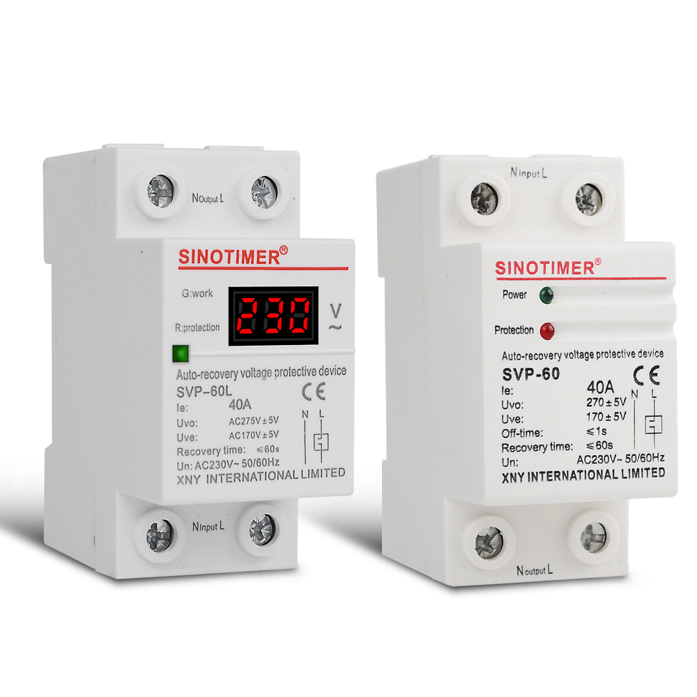 230V AC 40A Din Rail Automatic Recovery Reconnect Over Under Voltage Relay Protective Device Protector Overvoltage Protection