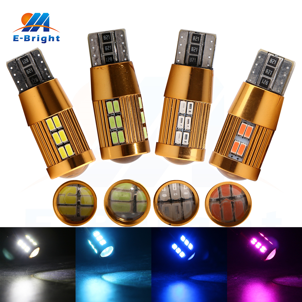 4 pcs T10 Canbus 3014 30 SMD Led NO ERROR Bulb Car Indicator Light Reverse Driving Auto Tail Lamp White Blue Pink Ice Blue 12V in Signal Lamp from Automobiles Motorcycles