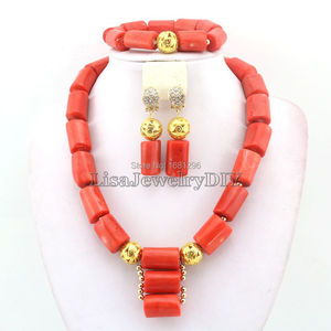 Image 3 - Amazing!2019 Coral Wedding Jewelry Set African Costume Jewelry Coral Beads Jewelry Sets Necklace Bracelet Clip Earrings HD0404