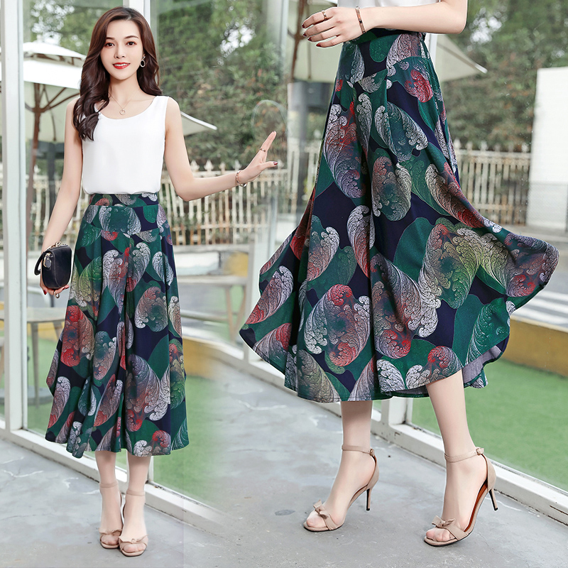 Summer Women Print Flower Pattern Wide Leg   Pants   Loose Chiffon Dress   Pants   Female Casual Skirt casual   pants     Capris   Culottes