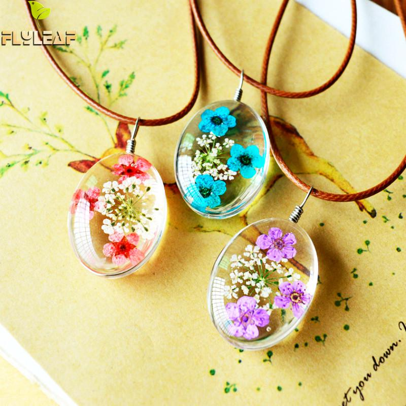 Flyleaf 2017 Handmade Epoxy Natural Dried Eternal Flower Specimens Necklaces & Pendants For Women Casual Girl Jewelry