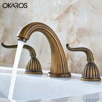 OKAROS Antique Euro Basin Faucet Dual Holder Three Holes Dual Handle Solid Brass Hot And Cold