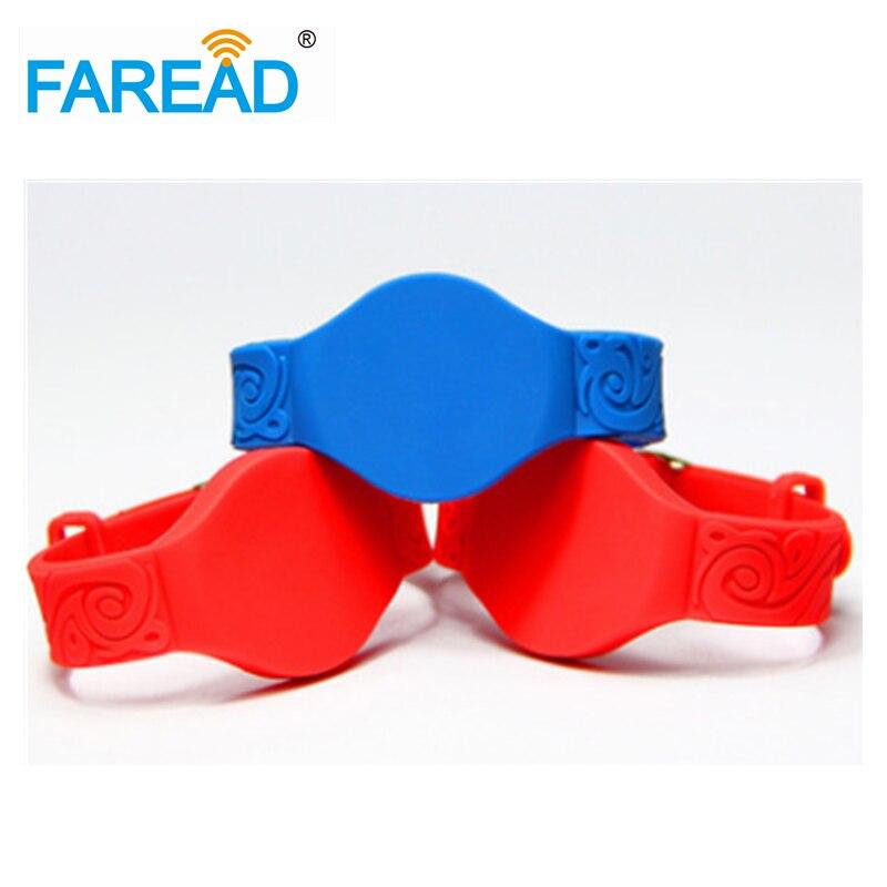 X100pcs Free Shipping 125khz TK4100 Wristband Adjustabel RFID Bracelet With Locked