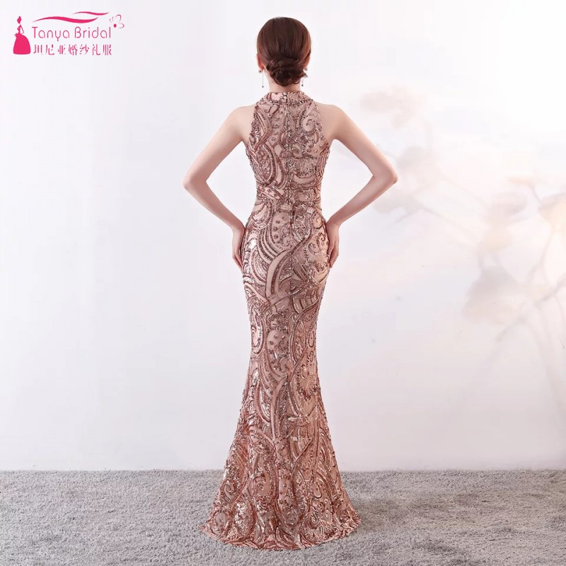 17e921af Evening Dresses Long High Neck Sequined Formal Evening Gowns Contrast Color  Mermaid Special Occasion Dress DQG487-in Evening Dresses from Weddings &  Events ...