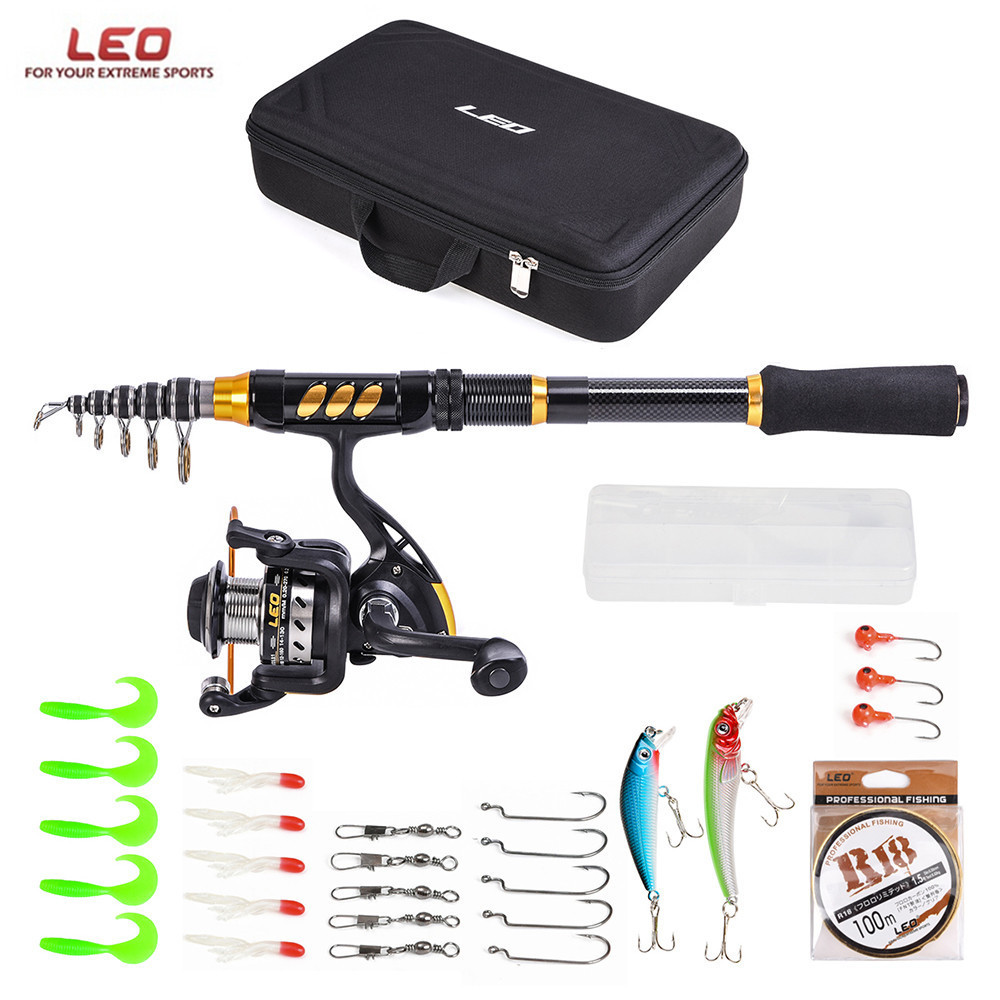 LEO Fishing Telescopic Rod Reel Combo Set Carbon Fiber Rod with Spinning Reel Fishing Line Lures