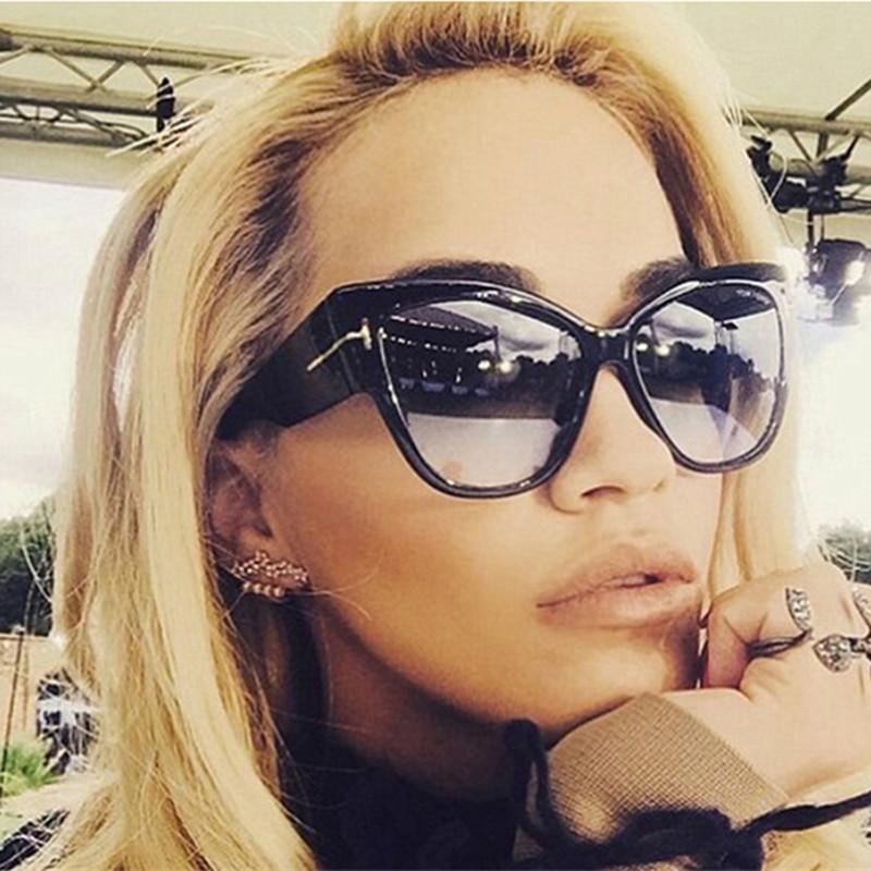 2016 new tom fashion brand designer cat eye women sunglasses female gradient points sun glasses big