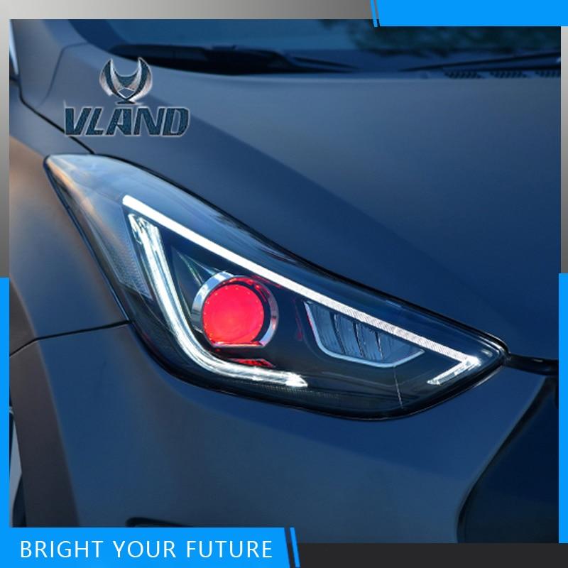 Car Styling for Hyundai Elantra 2012-2016 Headlights Lamp Assembly Front Lights LED Headlight Modify Custom changan for mazda 2 m2 headlights headlight assembly front lights light headlamp