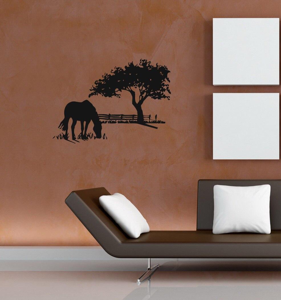 Kostenloser Versand Pferde Baum Vinyl Wandaufkleber Abziehbilder Kunstwandhaupt Dekoration Einsam Pferd auf...