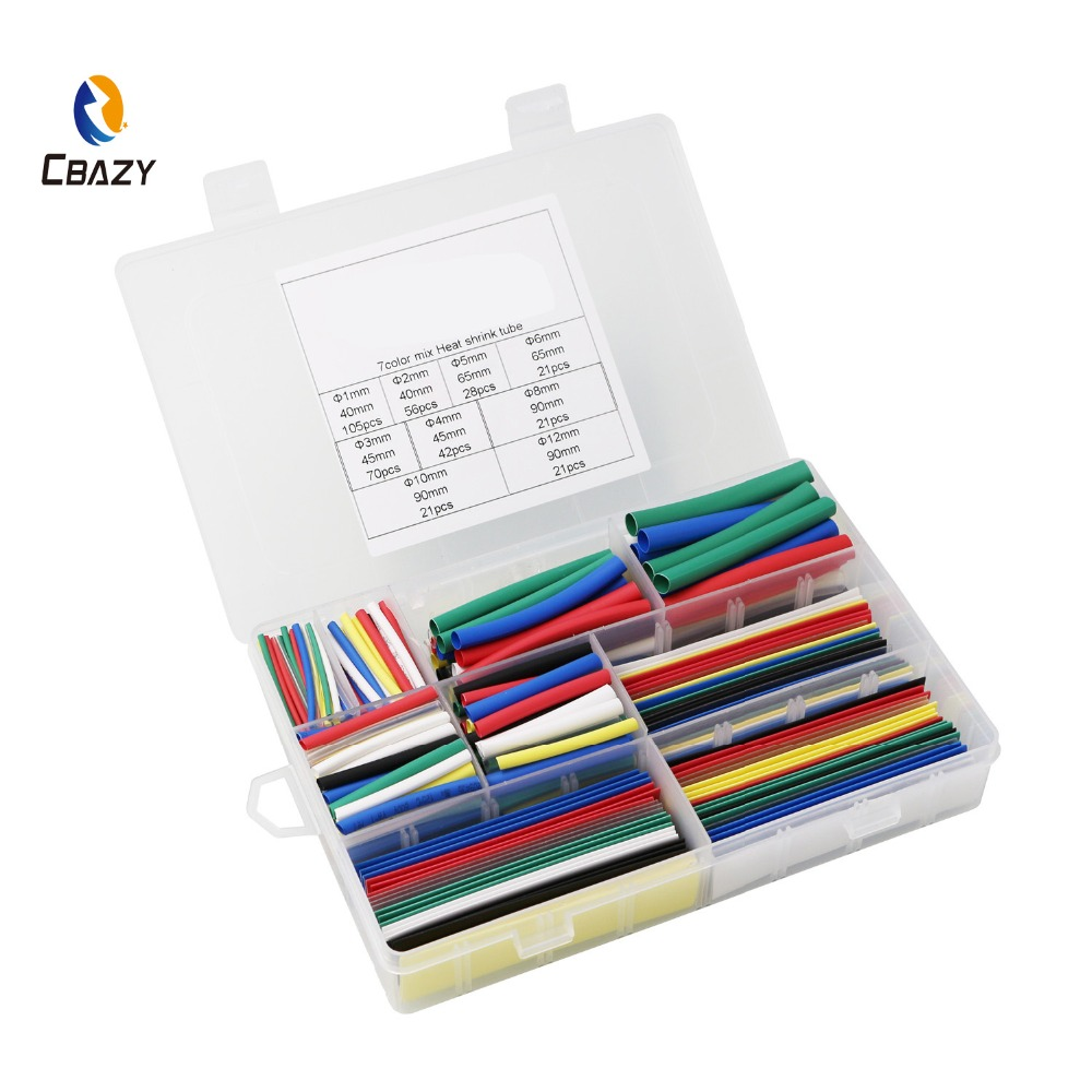 385pcs 2:1 heat shrink tubing in 7 colors 9 sizes Tubing Wrap Sleeve Set Combo Assorted heat shrink tube Kit for DIY(China)