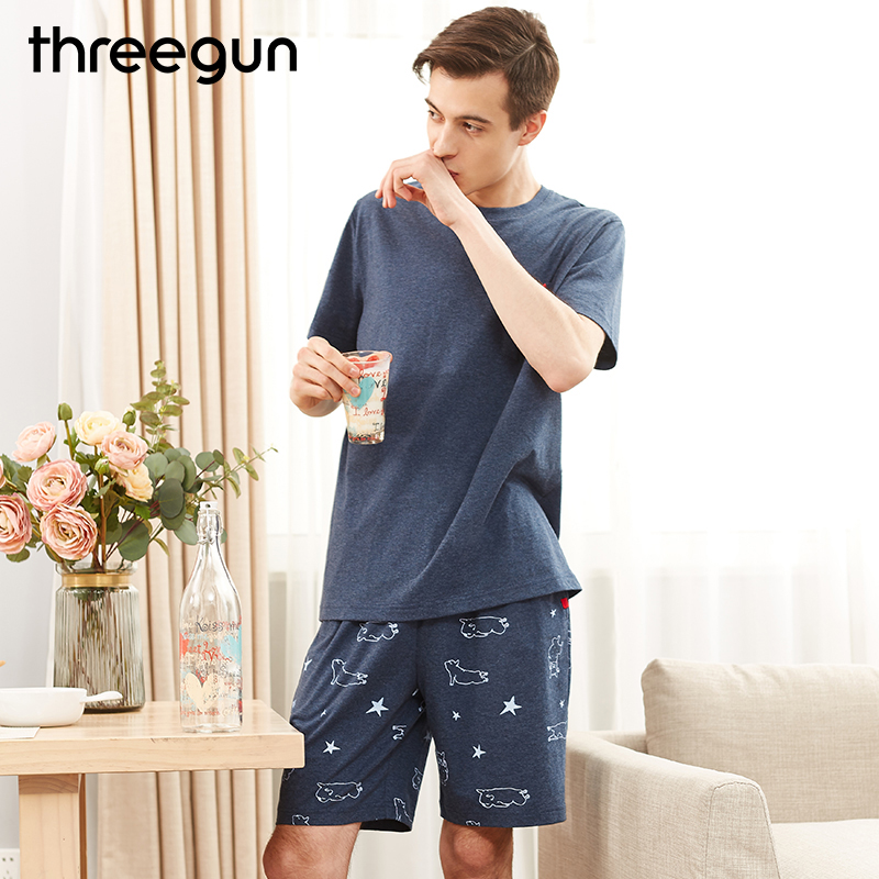 THREEGUN Brand Mens Sexy Sleepwear Casual Home Clothing Mens Sleep Shorts Pajamas Set Cotton Tops Tee & Shorts Pijama Hombre