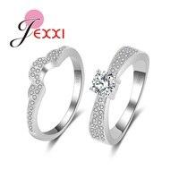 JEXXI Wholesale 925 Sterling Silver Cubic Zirconia Wedding Shiny Promise Ring Set CZ Diamond Party