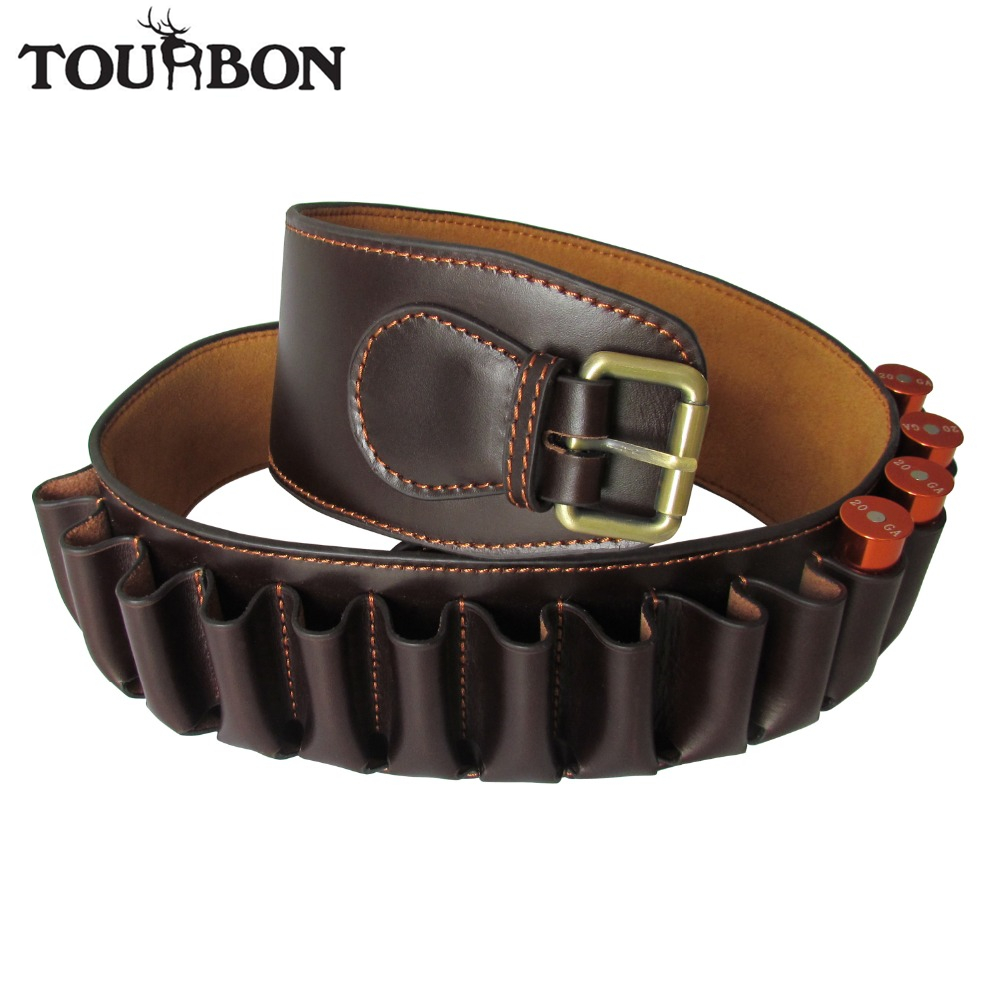 все цены на Tourbon 12 Gauge Shotgun Ammo Belt Brown Genuine Leather Cartridge Holder Carrier for Shooting Bandolier Hunting Gun Accessories онлайн