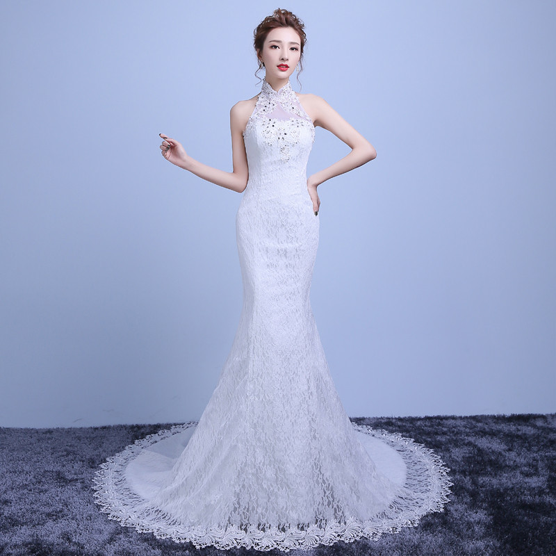 Vivian Wedding Gown: Vivian's Bridal 2018 Halter Sleeveless Women Mermaid