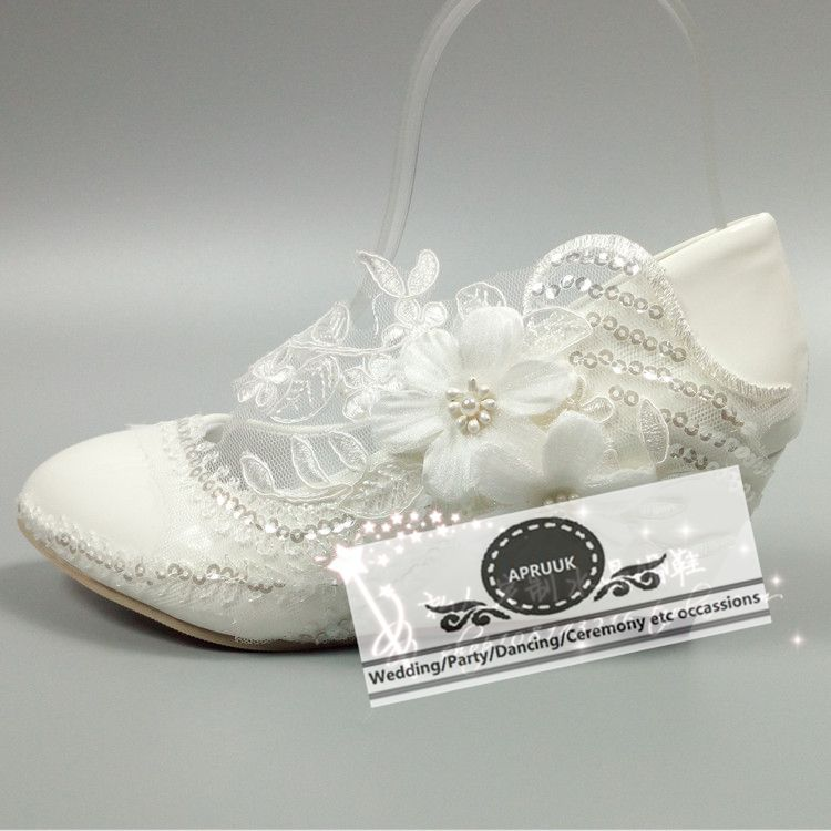 5cm wedges heel size 35-40 ladies girls lace flower wedding shoes bride bridal sequines bling HS331 flower lace pumps shoe5cm wedges heel size 35-40 ladies girls lace flower wedding shoes bride bridal sequines bling HS331 flower lace pumps shoe