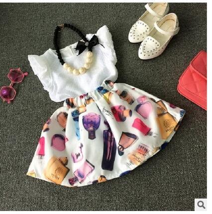 Free shipping Girls white T-shirt shirt + chiffon skirt two-piece suit beautiful baby