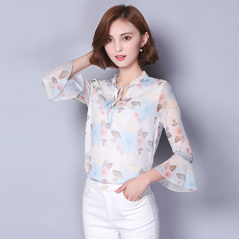 2017 nuevas camisas de las mujeres flare manga ruffles suelta gasa de la impresi
