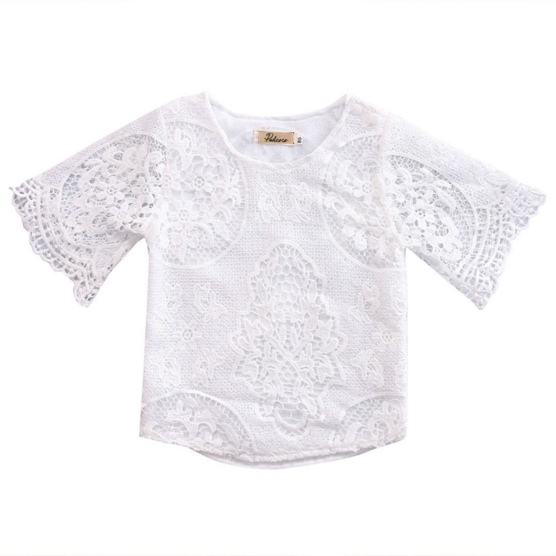 Toddler Infant Baby Girls Lace Floral Croped Cotton Long Sleeve Blouse Shirts Tops Kids Outfits Sunsuit Summer Clothes 0-3Y NEW