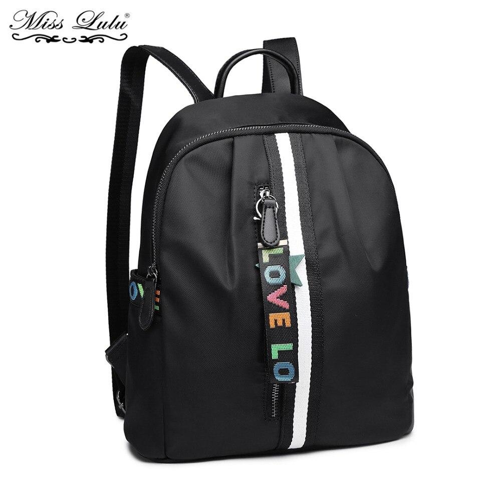 Buy 1 Get 1 at 50% Off Miss Lulu Women Backpack School Bags for Girls Black  Waterproof Travel Rucksack Shoulder Daypack LG6830-in Backpacks from Luggage  ... f3eb35ae697ce