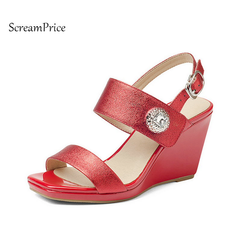 Genuine Leather Comfort Wedges High Heel Open Toe Woman Sandals Fashion Buckle Dress Summer Shoes Woman Red Silver woman fashion high heels sandals women genuine leather buckle summer shoes brand new wedges casual platform sandal gold silver