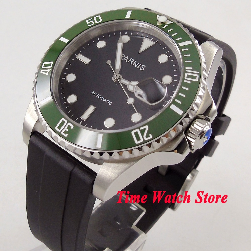 цена 40mm PARNIS watch black dial luminous sapphire glass Green ceramic bezel 21 jewels MIYOTA Automatic movement men's watch 1056 онлайн в 2017 году