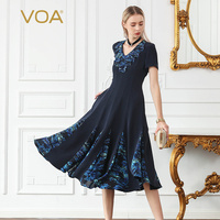 VOA 2018 Silk Summer Robe Femme Ete Short Sleeve Vestido Verano Ruffled Solid Color Stitching V neck Large Swing Type Dress A887