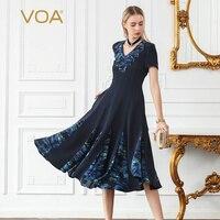 VOA 2018 шелк Лето одеяние Femme Ete короткий рукав Vestido Verano с оборками однотонная, с приметанными оборками v образным вырезом большое типа swing плать