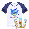 hot sale T-shirt pokemon boys clothing Short Sleeve Squirtle and Treecko cotton boys clothes Pocket Monster children t shirts