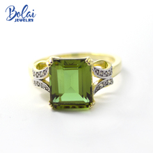 Bolai Zultanit Ring 925 Sterling Silver Color Change Nano Diaspore Emerald cut Gemstone Fine Jewelry for Women Wedding Rings New bolai 100% natural tourmaline ring 925 sterling silver fancy color five stone gemstone fine jewelry for women wedding rings 2019