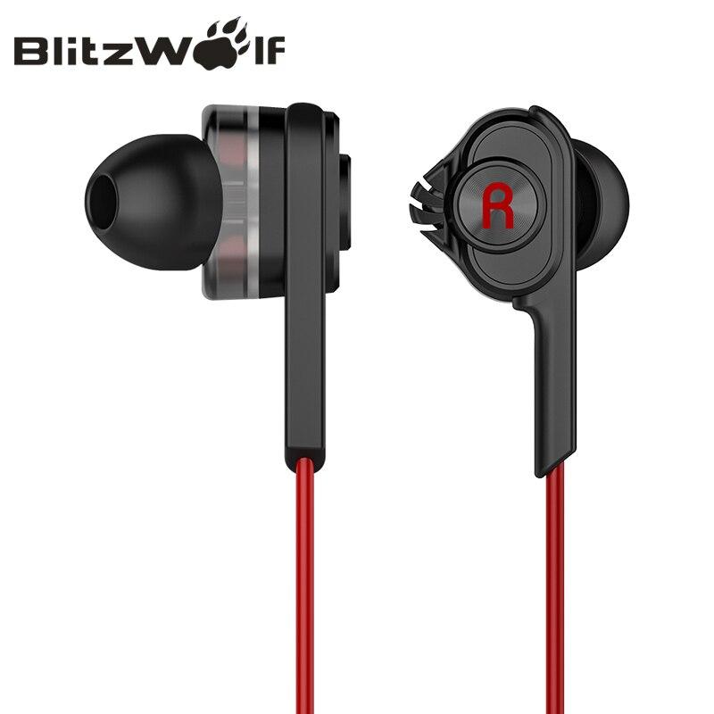 BlitzWolf Auriculares con Cable Cableado con Micrófono Auriculares Intraurales Intrauriculares 3.5mm Auriculares con Micrófono para Auriculares Estéreo de Móvil para iPhone teléfono inteligente